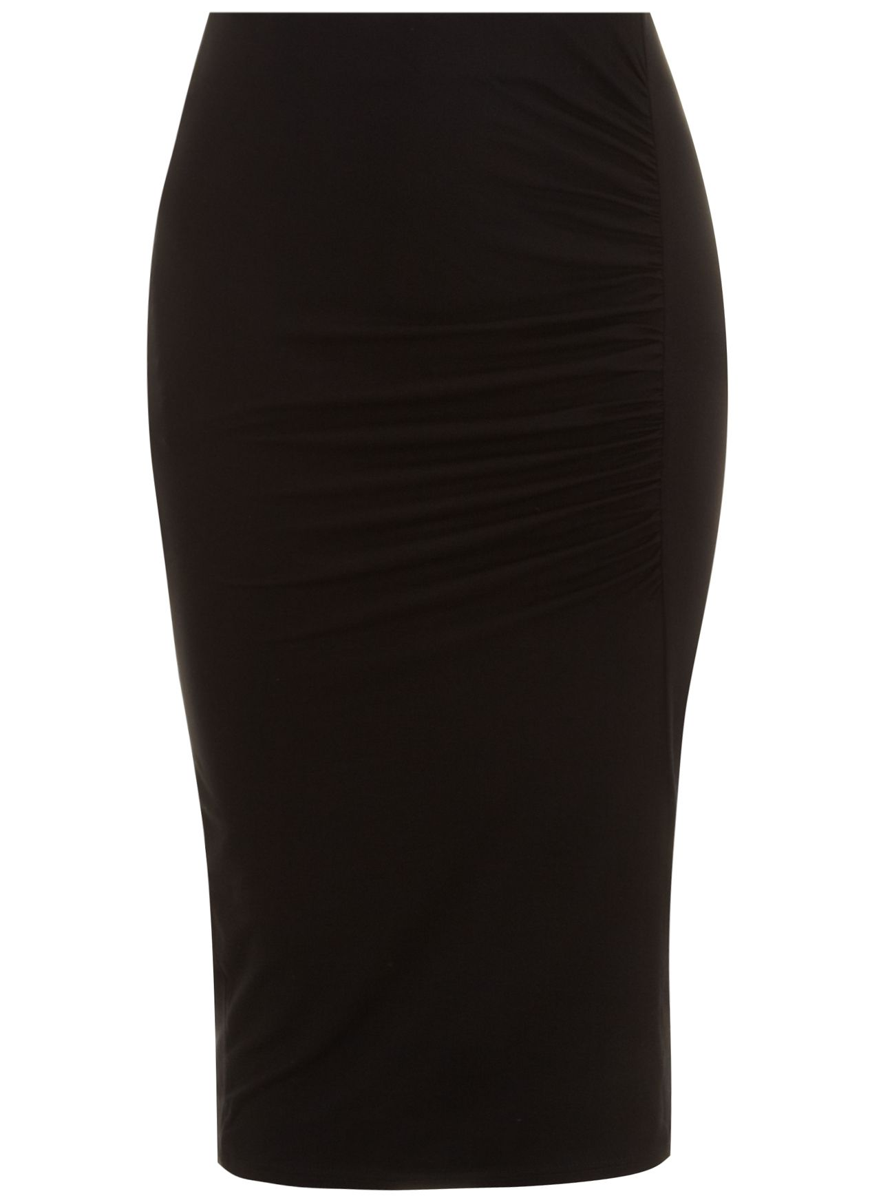 Black side rouched midi skirt