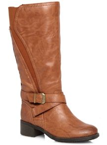 Tan Curve Elastic Long Boot