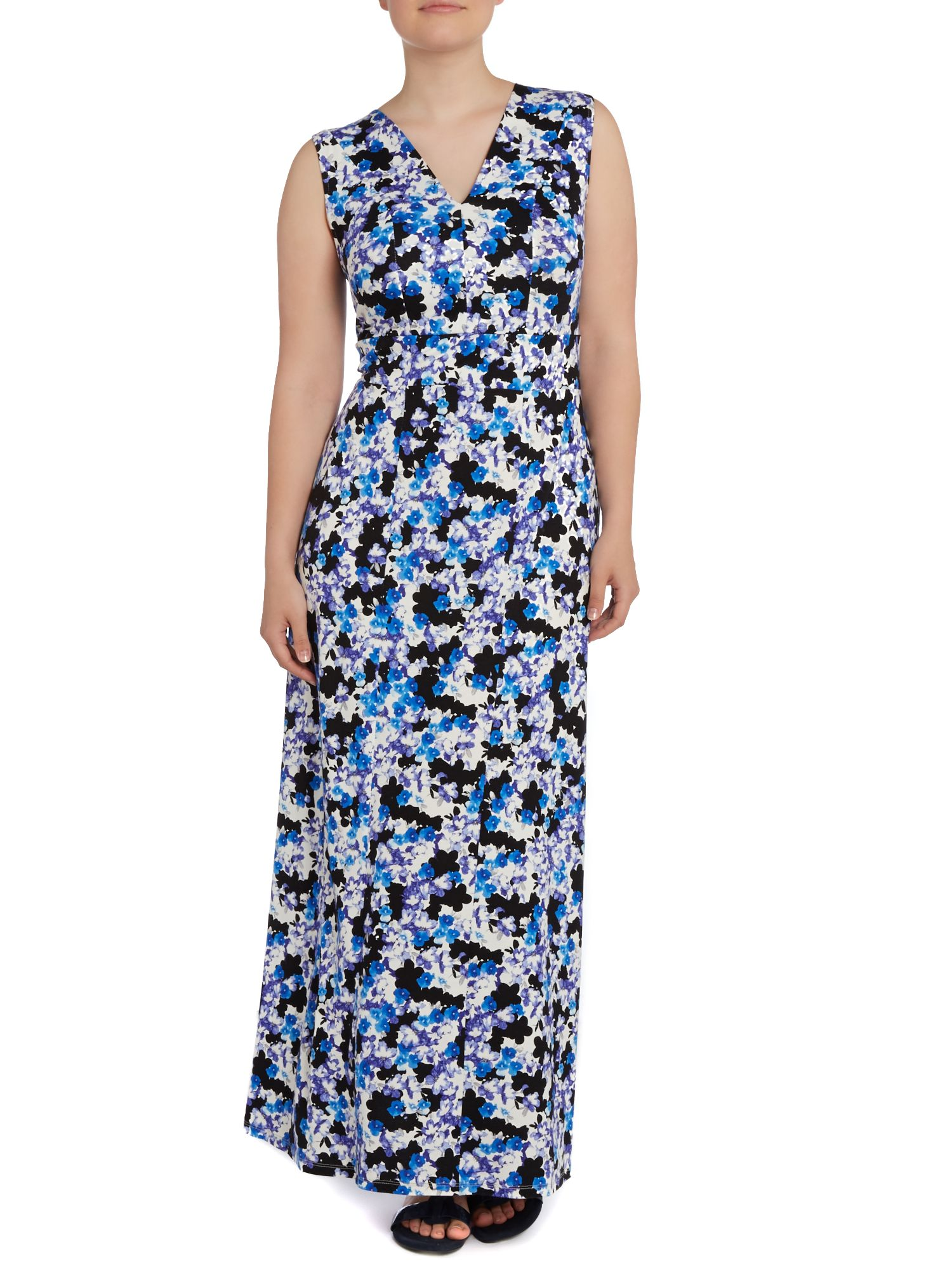 Blue floral shadow maxi dress
