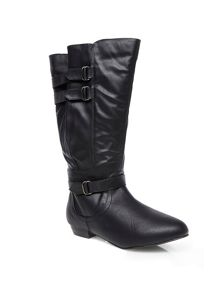 Black buckle strap long boots