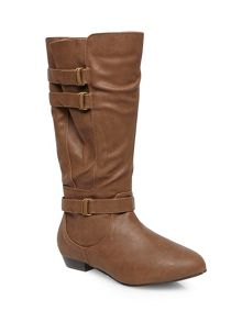 Tan buckle strap long boots