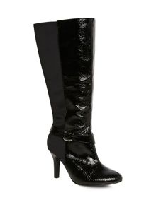 Black patent heeled long boot