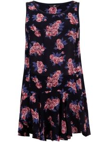Navy floral longline top