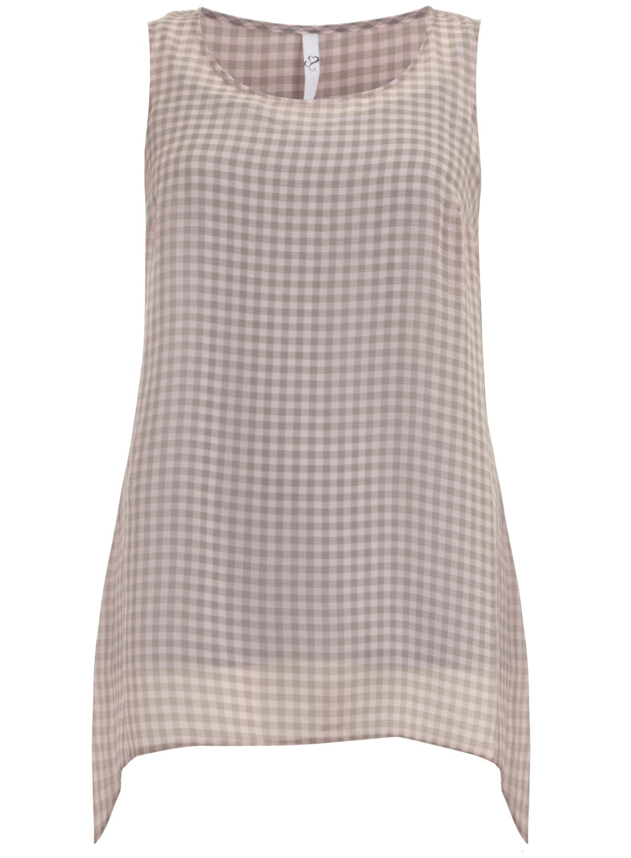 Check sleeveless dipped hem top