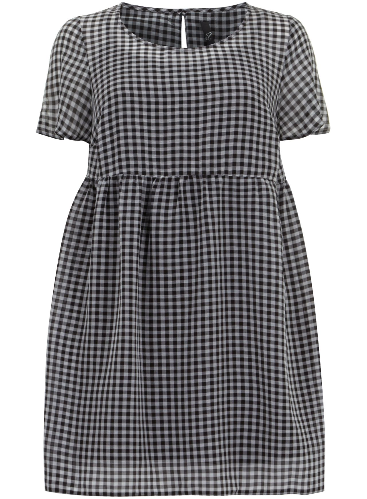 Black & White Check Smock Tunic Top