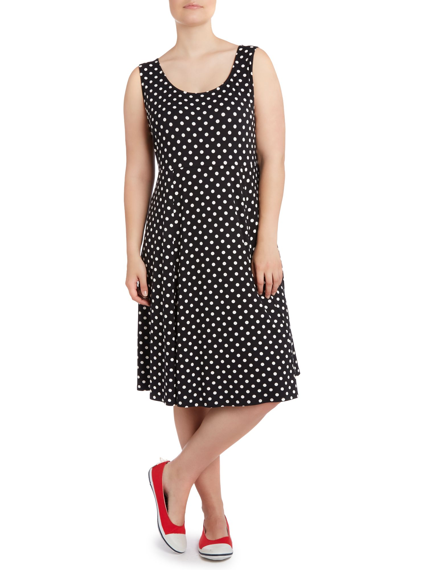 Spot sleeveless skater dress