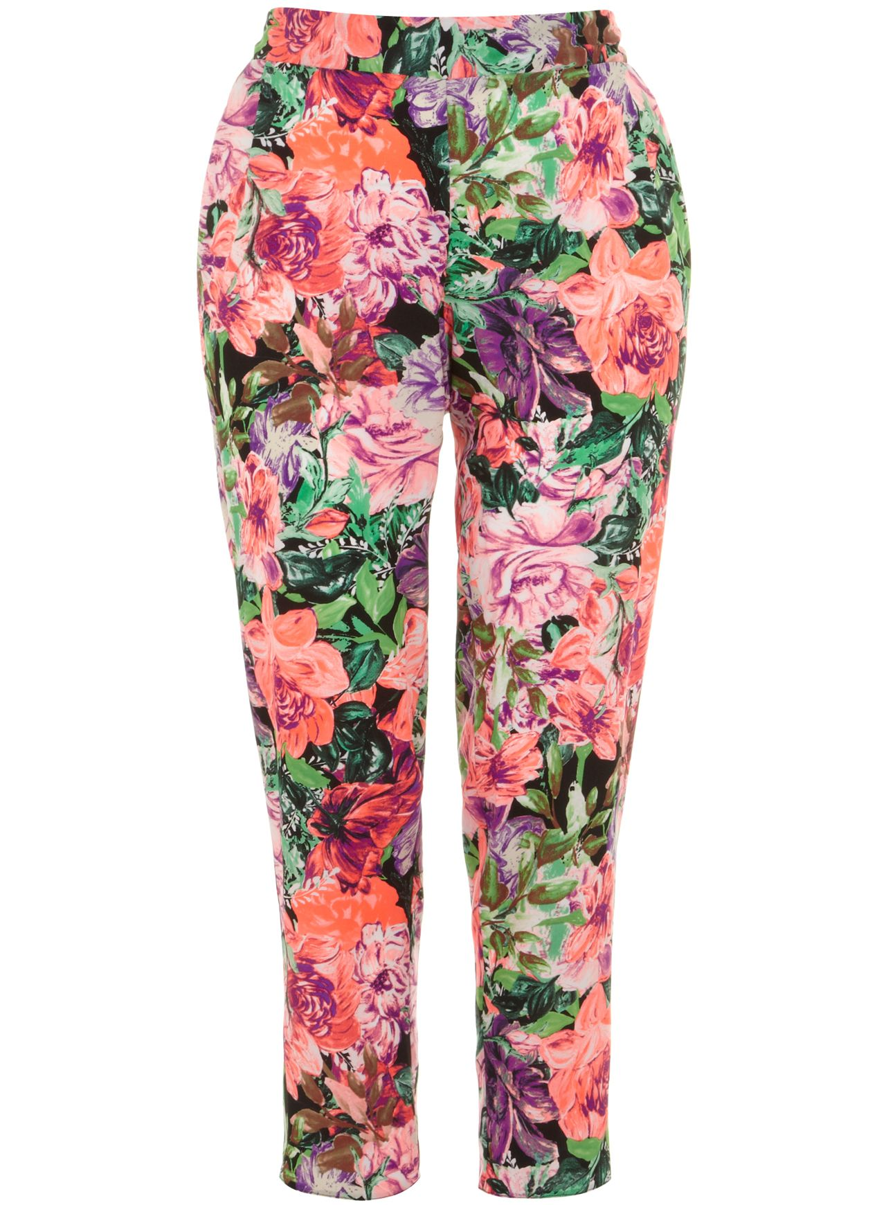 Neon print tapered trousers