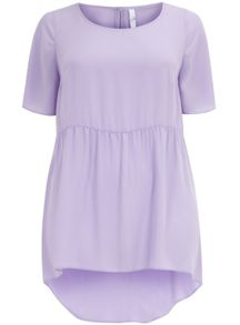 Lilac woven skater top