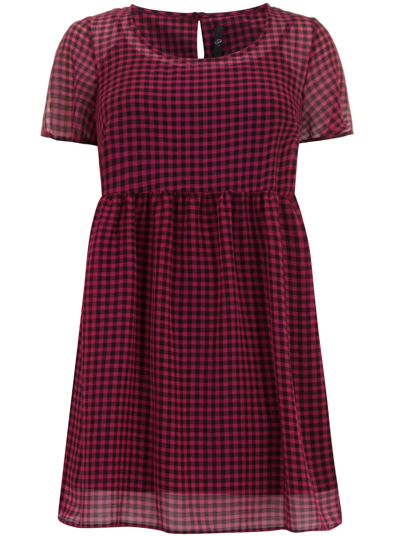 Pink Check Smock Tunic Top