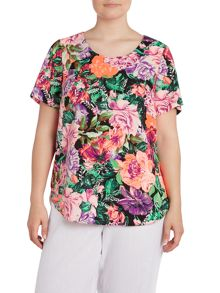 Floral neon shell top