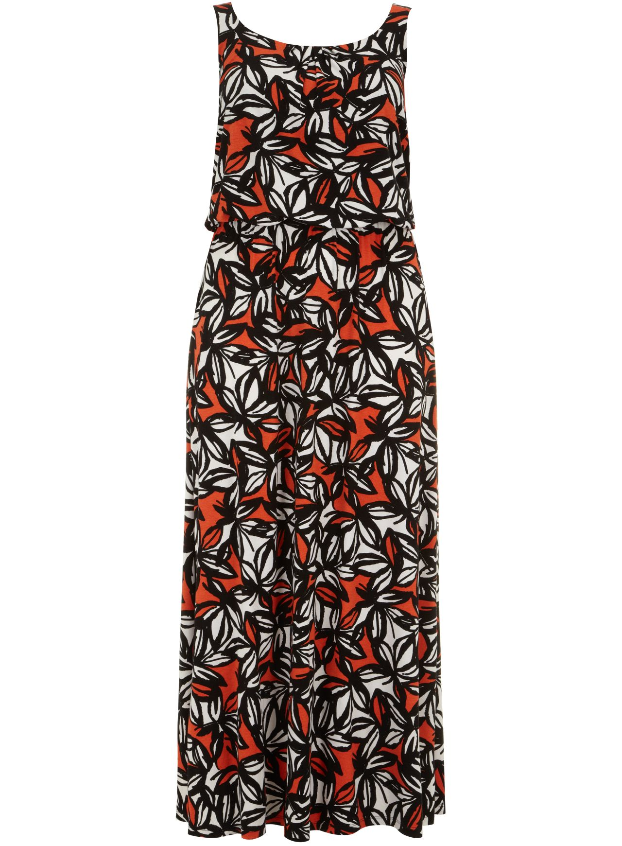 Printed blouson maxi dress