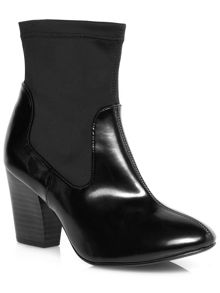 Black material mix heeled boots