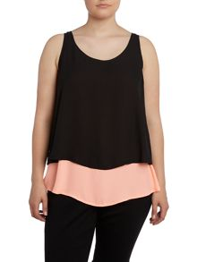 Black and pink layer top