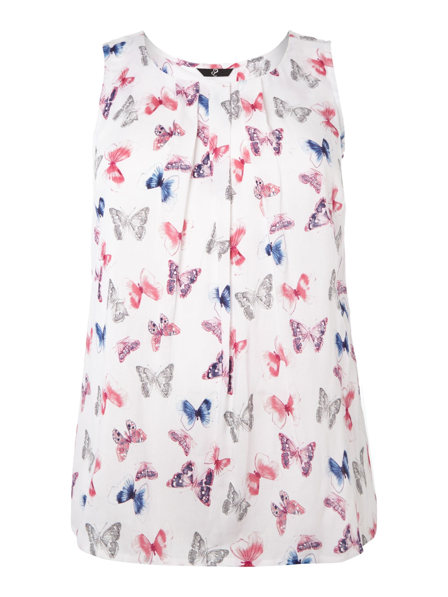 White Butterfly Print Top