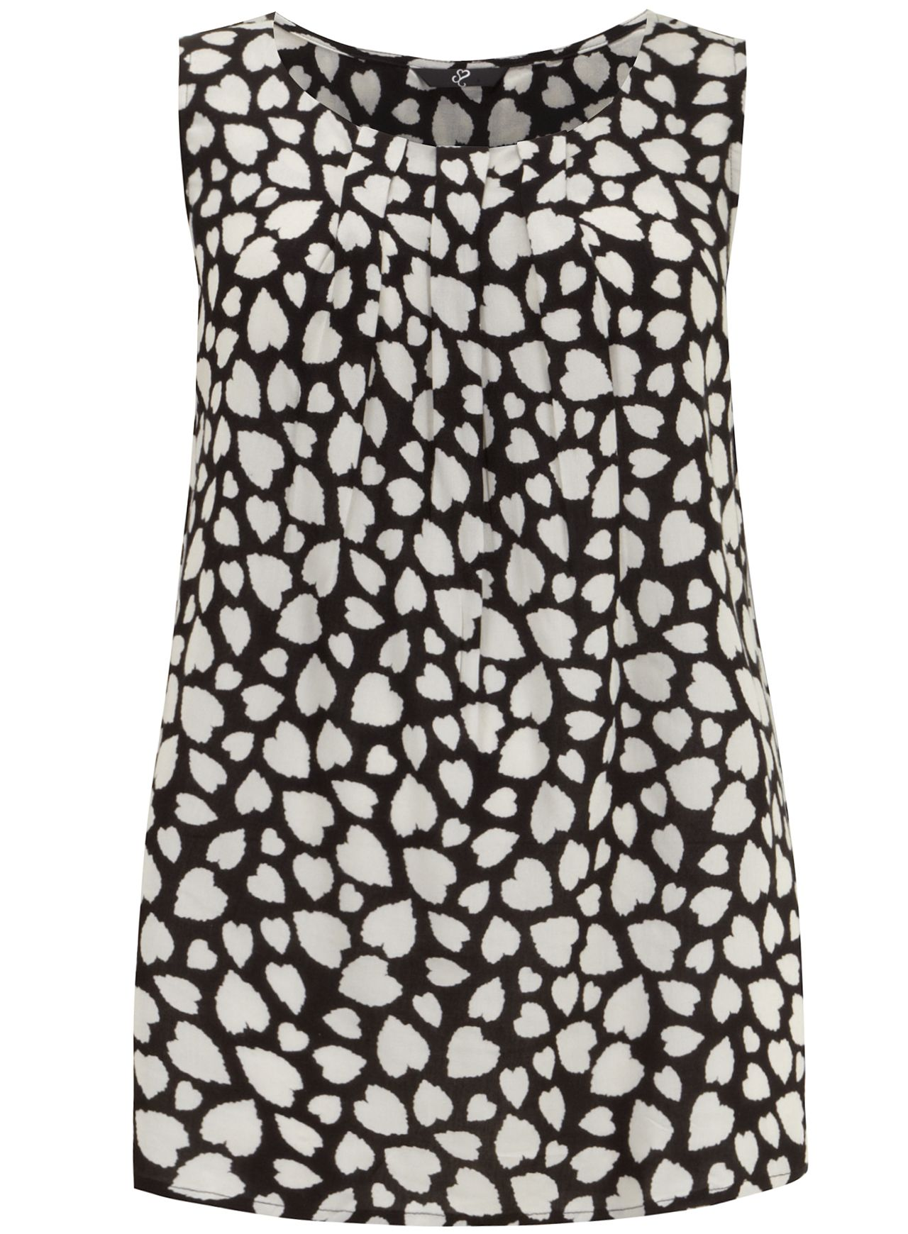 Black & Ivory Heart Print Shell Top