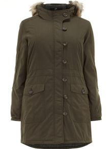 Green pear fit parka coat