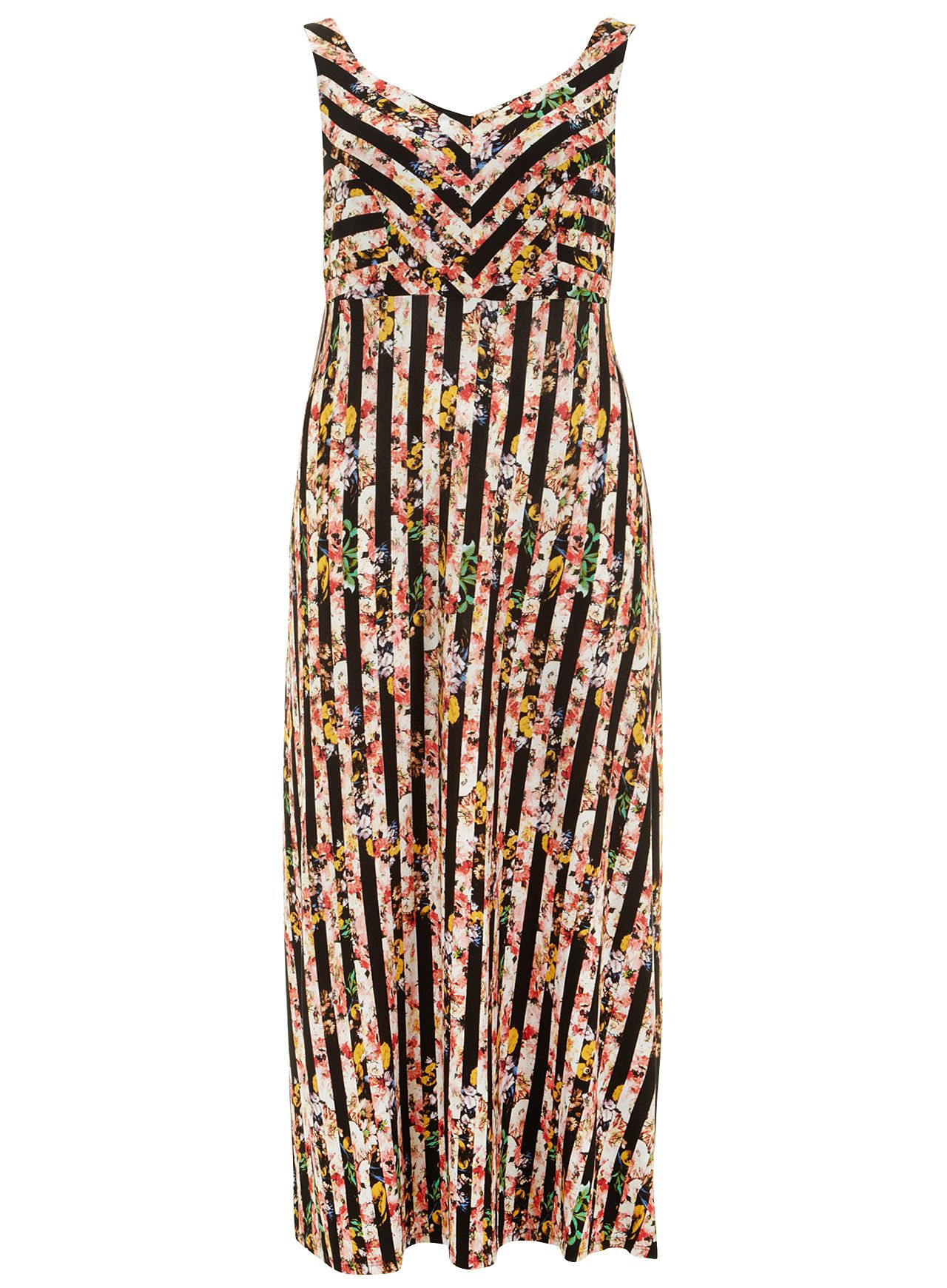 Stripe floral maxi dress