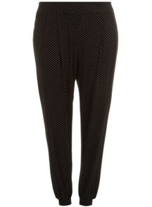 Evans Plus Size Spot print jersey tapered trouser