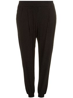 Plus Size Spot print jersey tapered trouser