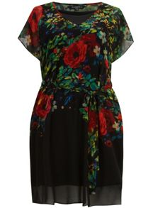 Belted Floral Print Tunic Dress