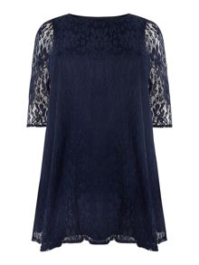 Navy lace swing top