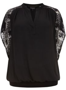 Black Lace Sleeve Blousson Top