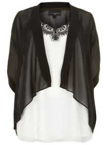 Black Cover Up And Ivory Lace Trim Camisole
