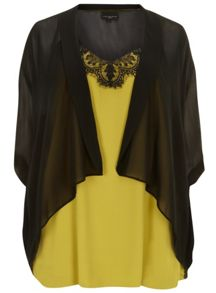 Black Cover Up And Lime Lace Trim Camisole