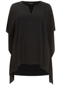 Black Stepped Hem Kaftan Top