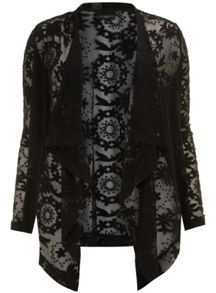 Embroidered Mesh Waterfall Jacket