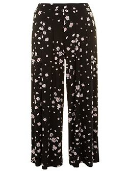 Plus Size Floral printed wide leg trouser