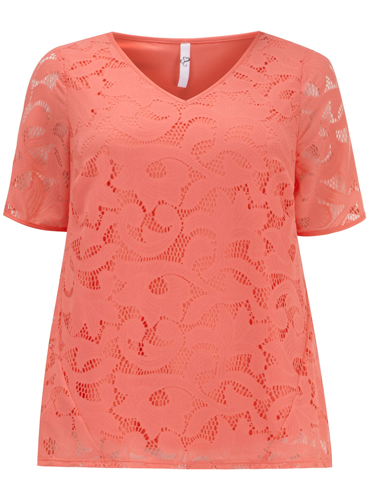 Coral lace shell top
