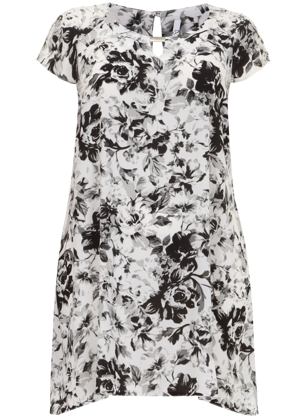 Grey floral swing tunic