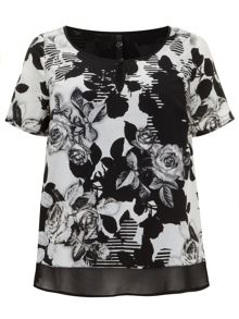 Double layer floral print top