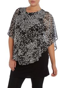 Animal print cape top