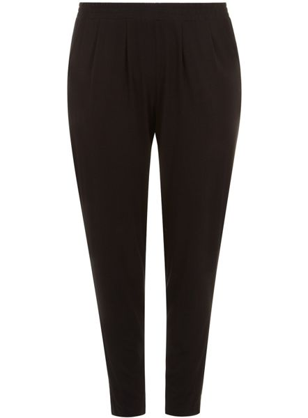 Plus Size Black Jersey Tapered Trouser