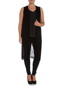 Sleeveless longline open stitch cardigan