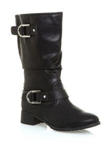 Black D-Ring Trim Biker Boots