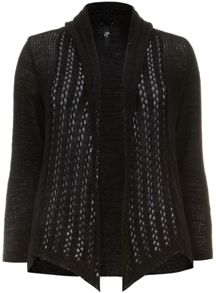Black Set In Sleeve Tape Cardigan