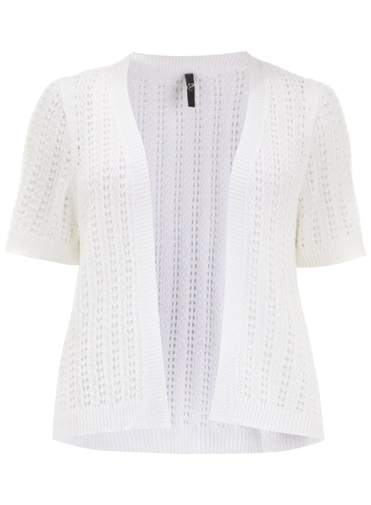 White Open Knit Textured Rib Shrug