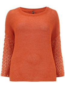 Orange Crochet Sleeve Jumper