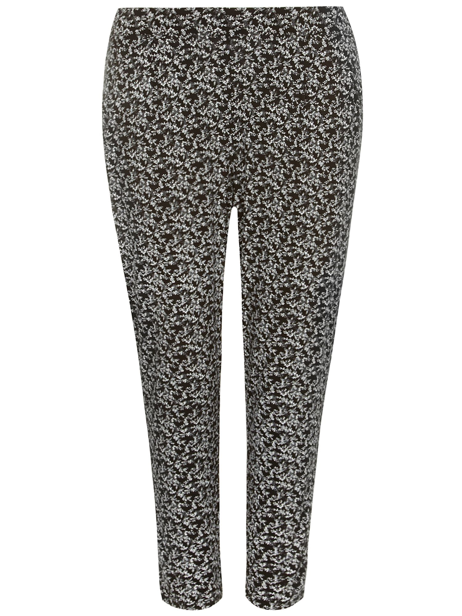 Black and White Floral Tapered Trouser