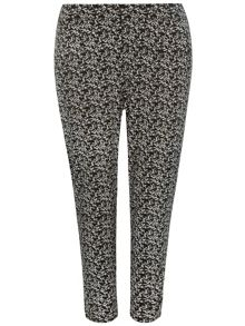 Evans Plus Size Black and White Floral Tapered Trouser