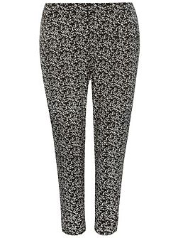 Plus Size Black and White Floral Tapered Trouser