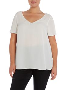 Ivory short sleeve crepe top