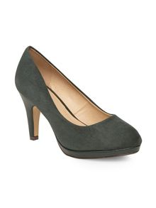 Dark green suedette court heels