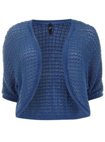 Blue crochet shrug