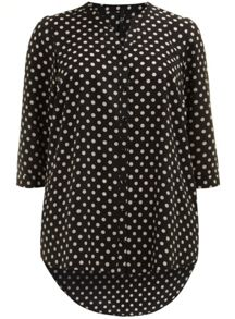 Black Spot Crepe Shirt