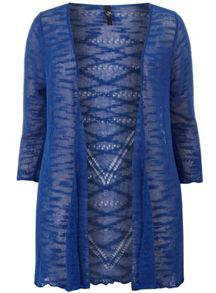 Blue Open Knit Textured Pointelle Back Cardigan