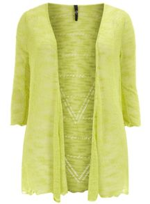 Green Open Knit Textured Pointelle Back Cardigan